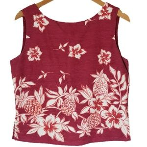 Tommy Bahama Tropical Pinapple Floral Silk Tank